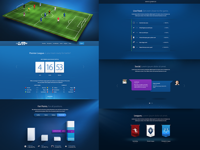 Fantasy Soccer landing page sports soccer football light teams shields landing page web design blue stats charts flags social leagues points countdown count down rwd responsive feed live shadows computer game video game game ios ios game