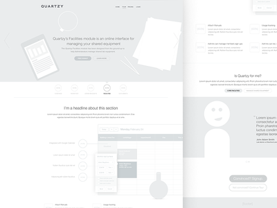 Quartzy - Facilities Wireframe wireframe facilities quote grey science lab scientist beaker module tracking headline