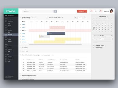 Vonigo - Schedule schedule web app calendar jobs application actions calls add table list create product design