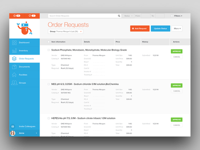 Quartzy - Order Requests product design requests status facilities groups inventory dashboard robot invite approve search add