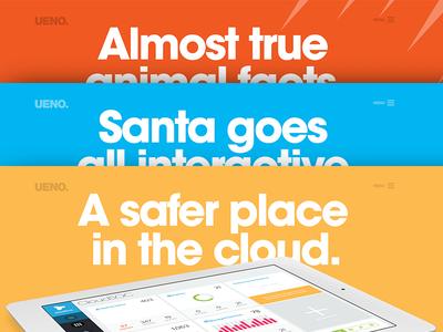 UENO. Case Studies WIP haraldur case study layout ipad santa fitbit hero agency website design bird google