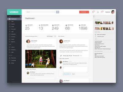 Vonigo - Dashboard product design dashboard post clients quote invoice case corporate network calls leads accounts
