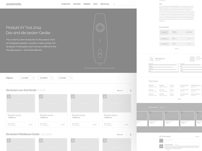 Exelerate : Wireframes comments german ranking camera cards layout wireframe