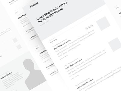 Medium : Wireframes medium editorial layout wireframe articles obama posts publishing grey simple