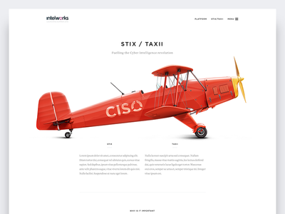 Intelworks : Stix / Taxi ecosystem 3d plane white landing page security stix data menu simple airplane resources