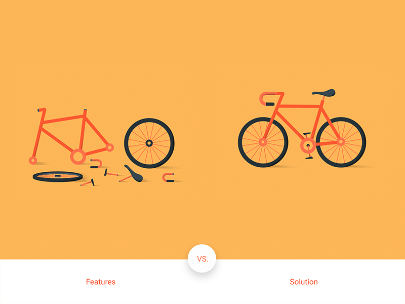 Google : Features vs. Solution parts yellow features solution material design bicycle bike google