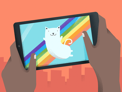 Google : Nyan-ish Cat material design city device android rainbox cat google