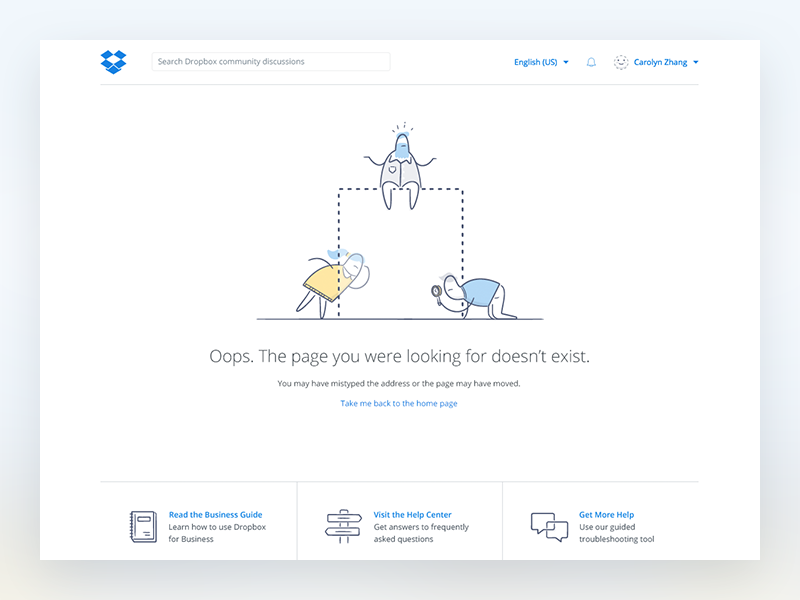 Dropbox Community : 404 community help guide looking glass missing oops 404 dropbox