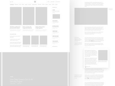 Timeline : Wireframes editorial layout business hashtag articles trending now news timeline