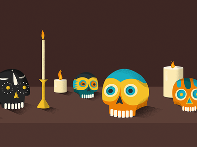 Google : Día de Muertos illustration candles day of the dead día de muertos skull google