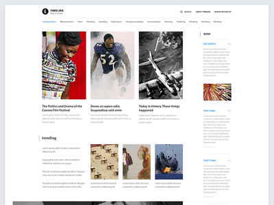 Timeline : Home editorial layout business hashtag articles trending now news timeline