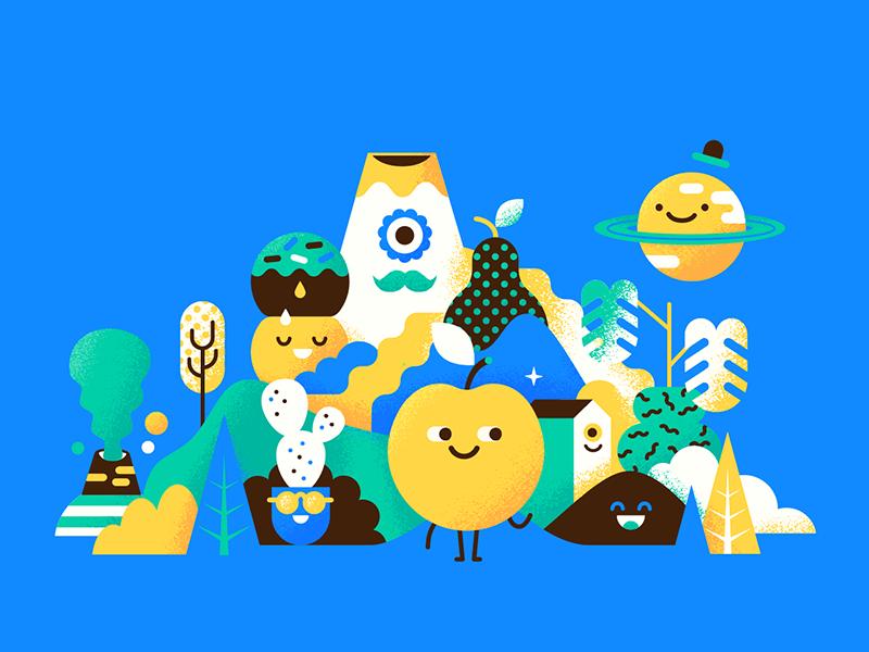Ueno Rebranding : Happy Town patswerk volcano trees planet moon apple mustache mountain branding ueno