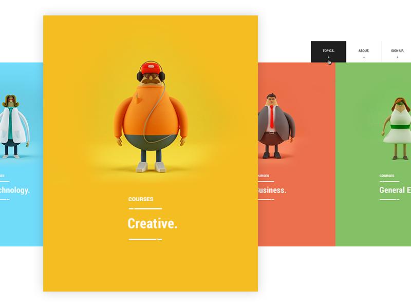 Skilledup : Nav hover menu education business people creative skilledup 3d