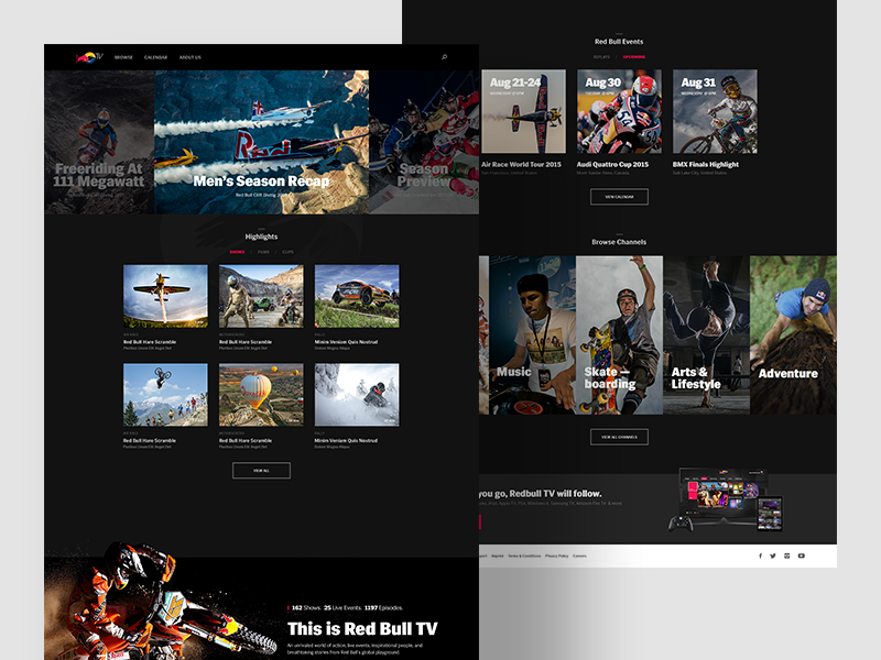RedBull TV : Home by ueno  on Dribbble