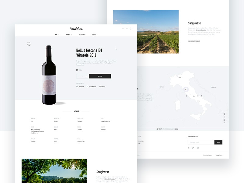 Verve Product Detail Page detail product map typography wine ux ui design pdp e-commerce