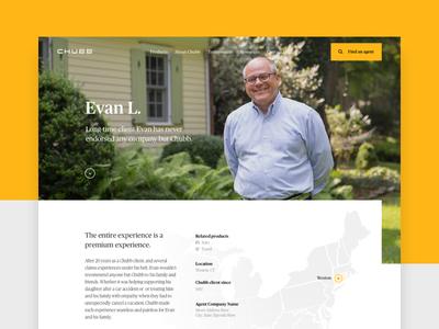 Chubb - Testimonial page photography layout insurance hero corporate claim chubb testimonial