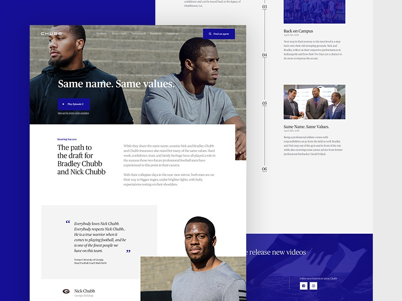 Chubb Cousins NFL Campaign football sports ux ui web