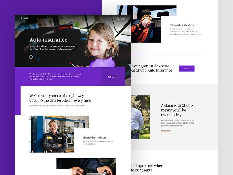 Chubb Auto Insurance template ux design web ui