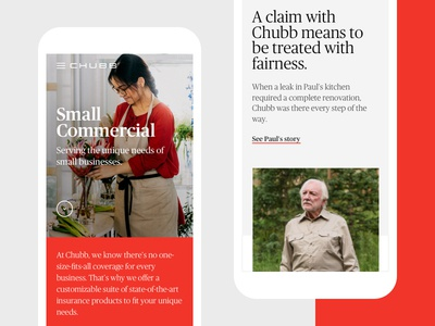 Chubb - Mobile web ui ux mobile testimonial insurance corporate chubb