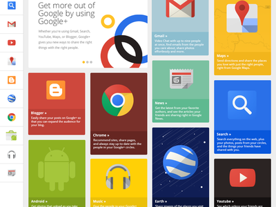 Google+ Grid web design color colour flat layout social search illustration website clean landing page overview cards youtube chrome gmail maps news android google grid play blogger webdesign responsive icons navigation ui web app