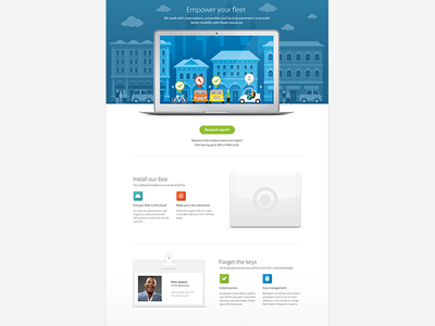Landing page design white space whitespace id card skyline badge campus landing page web design layout houses town ui icons ipad box colour id card illustration responsive track hero car fleet bike keys