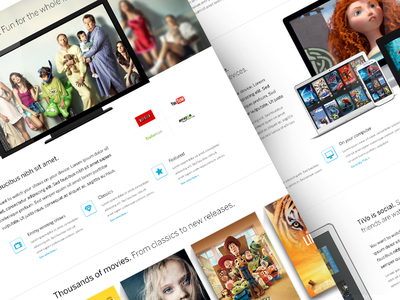 TiVo tv tivo tv shows dvr netflix sports landing page cover poster pixar devices layout web design white space series whitespace youtube amazon hulu
