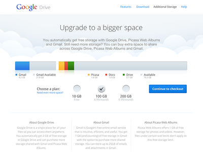 Google Drive - Additional storage google drive upgrade space cloud gmail picasa docs available plan checkout purchase pricing usage graph