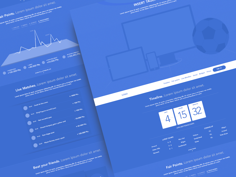 Wireframe - Fantasy Soccer Game trial sketch blue wireframe blueprint soccer football score stats statistics list devices plans cta match fantasy sports