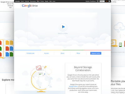 Google Drive Landing page google google drive collaboration share docs storage globe cloud clouds devices white clean landing page files explore