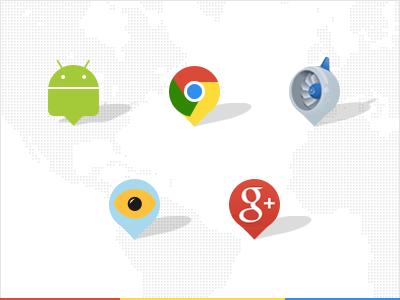 Google SXSW pins android chrome pins map google sxsw google plus eye engine app engine