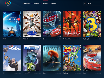 My TiVo tivo pixar ui movies tv shows grid my