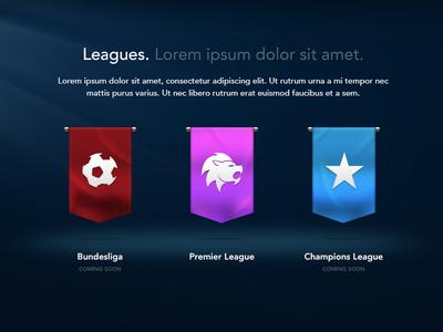 Leagues - WIP flags ribbons soccer football sports light champions league bundesliga premier league