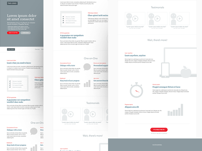 Wireframe for a landing page landing page web design clock graph stats video check check list chat education watch stop watch educate teach teaching trial responsive layout learning ux wireframe economist