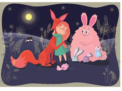 magical moment                  1 рыжие волосы лиса девочка дружба муха заяц персонаж