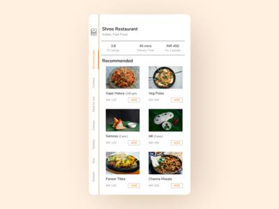 Daily UI 043 Food Menu figma design vertical menu uiux ui design app ui food app design food app ui food app daily ui 043 dailyui043 dailyui