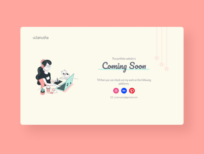 Daily UI 048 Coming Soon minimal figmadesign figma illustraion daily ui 048 coming soon portfolio website website design pastel portfolio site portfolio coming soon page dailyui