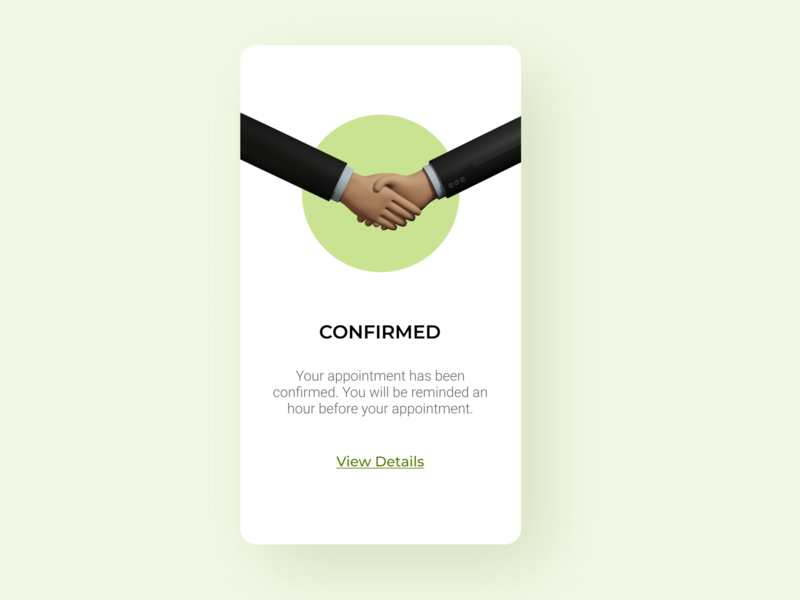 Daily UI 054 Confirmation ui illustration formal ui inspiration ui uidesign app ui mobile ui daily ui 054 daily ui dailyui popup appointment booking appointment confirmation