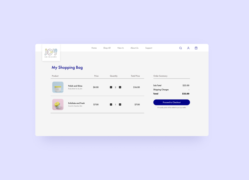 Daily UI 058 Shopping Cart/Bag shopping cart website beauty products skincare website design ui design figma design daily ui 058 daily ui challenge dailyui shopping bag shopping app