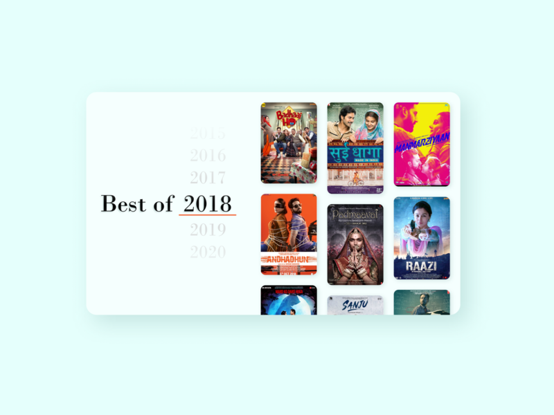 Daily UI 063 Best of.... ux ui uiux movie recommendation bollywood movie best of 2015 best of 2018 website inspiration web design webdesign ui design website ui dailyuichallenge daily ui 063 daily ui dailyui