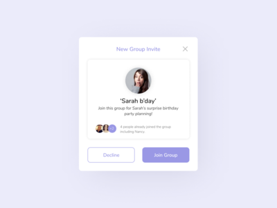 Daily UI 078 Pending Invitation dribbble invite ui ux ui component website design app ui ui design daily ui dailyuichallenge pop up ui pending invitation design notification invitation daily ui 078 uiux group invite