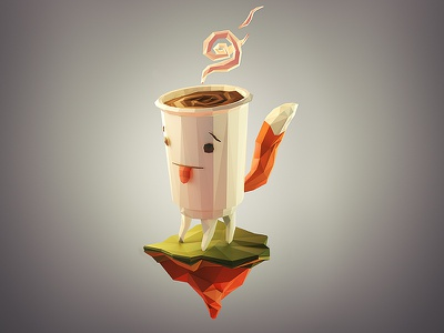 DoubleB mascot render 3d lowpoly coffee illustration 3ds max