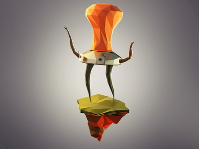Temper 3d render coffee lowpoly mascot 3ds max