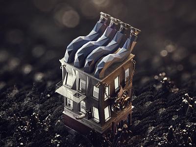 Noir house 3d noir poly low
