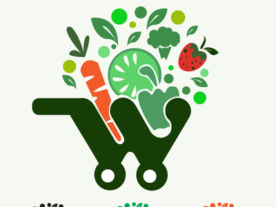 W SHOP vegetable shopping app web logo branding vector illustrator illustration design graphic design