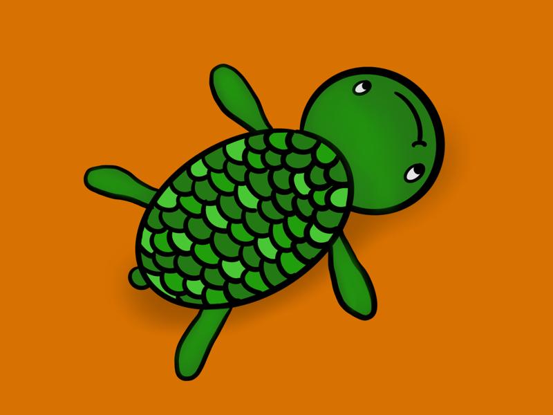 Turtle underwater underthesea illustrations illustration doodling doodle animal turtle turtles
