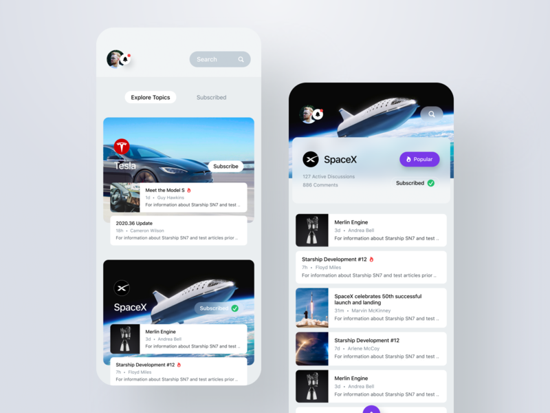 Discussion - iOS App subscribe explore filter search chat iphone tesla spacex discussion comment forums channel topic discussions ios mobile app design mobile app