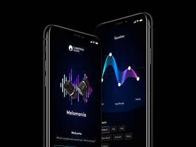 Melomania - iOS App mobile app mobile design dark ios dark mobile app dark ui earphones earbuds nav app ios iphone mobile hub splash equalizer headphones audio music dark
