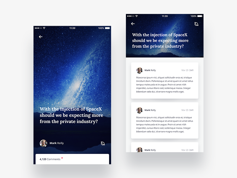 Mobile Comments discussion tile app clean flat ios iphone mobile space ui ux light