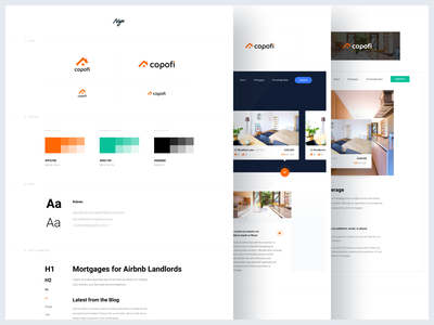 Copofi - UI Guide flat light website web examples colour typography branding mortgage experience layout font white guideline brand guide ux ui design clean