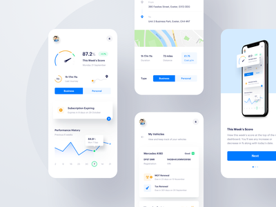 Journey Tracking - Mobile dashboard app ux ui tracking onboarding mobile light map journey iphone ios graph gauge flat clean analytics